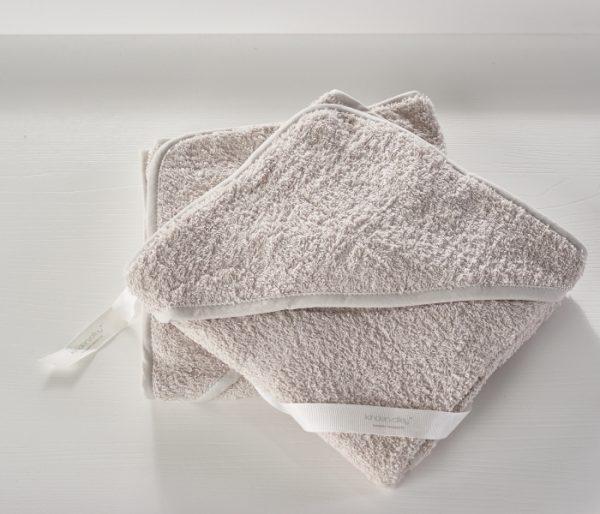 Set dveh kopalnih brisač iz frotirja - sivo bež barve