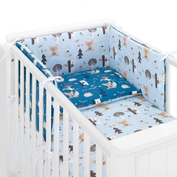 3 delna obojestranska posteljnina - živali v gozdu modra