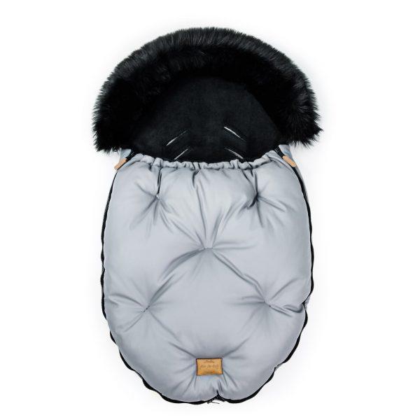 Prestižna zimska vreča Alaska s krznom in eko usnjem - siva + GRATIS zimska rutica