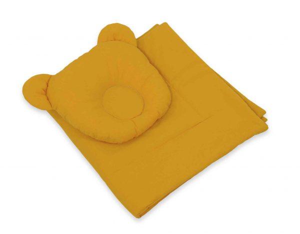 Boho Mojzesova košara z vzglavnikom in odejo - gorčično rumena