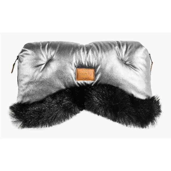 Prestižne muff rokavice Alaska z eko krznom in eko usnjem - metalik sive