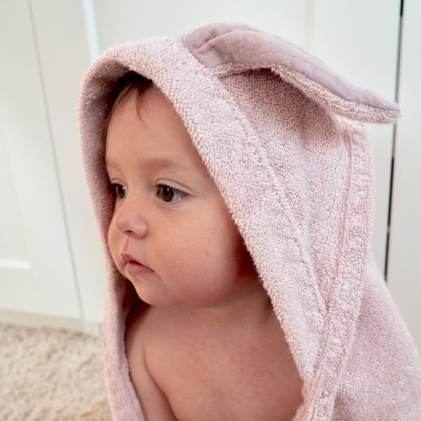 Kopalna brisača zajček iz 100% bambusa - puder roza